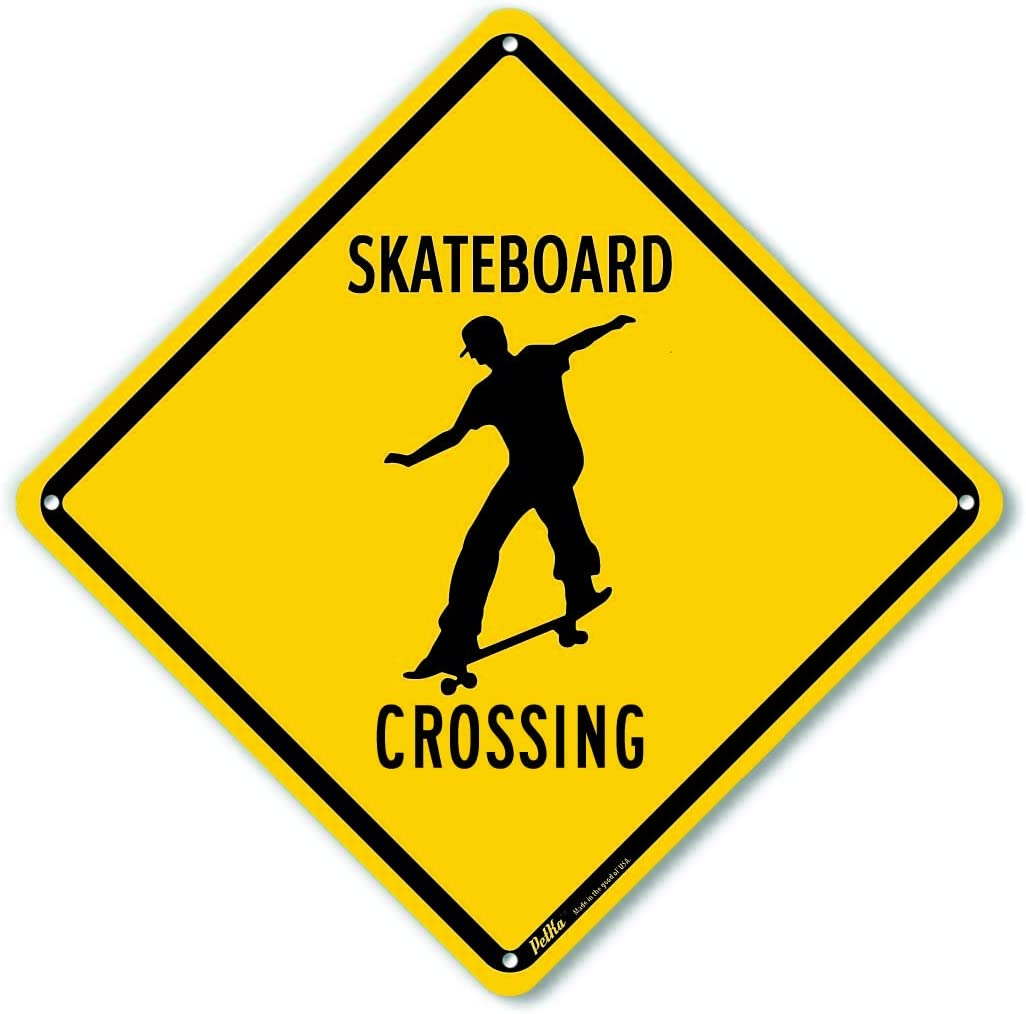 """Skateboard Crossing"" Aluminum Sign, Black Text with Yellow Background 10"" x 10"", Black Text with Yellow Background"