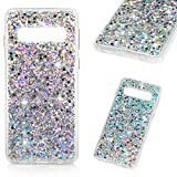 Galaxy S10 Case, Crystal Clear Bling Shiny Glitter Shimmer Pieces Drop Resistant Shockproof Soft TPU Bumper Frame Acrylic Shell Back Shock Absorption Ultral Slim Cover for Samsung Galaxy S10 - Silver