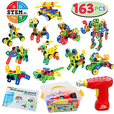JOYIN 163 Pcs STEM Toys Kit with Electric Drill and Storage Box Set Educational Construction Engineering Building Block Creative Game Toy for Ages 3+ Year Old Boys & Girls: Toys & Games