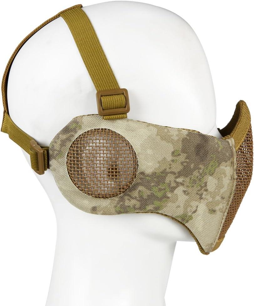 pistola BB paintball m/áscara de malla de media cara con protecci/ón para los o/ídos para el juego de guerra Cs caza Aoutacc M/áscara plegable para airsoft
