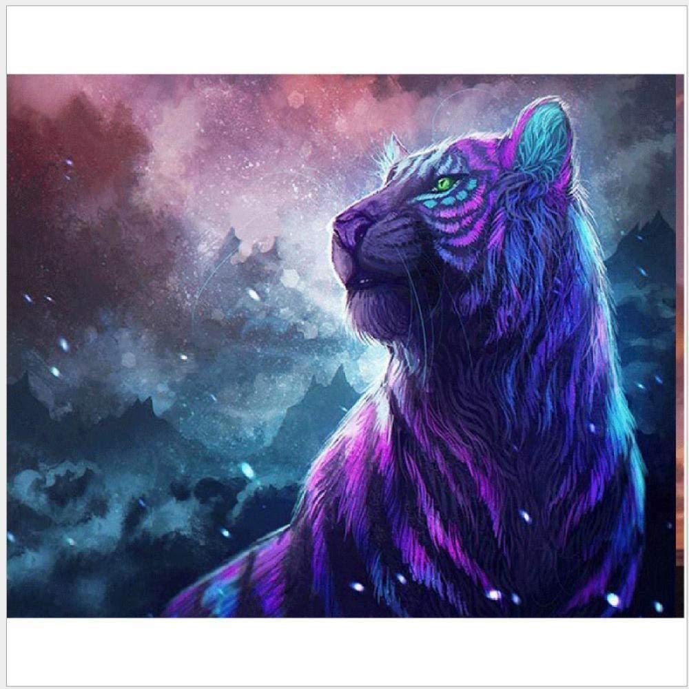 16x20 inch Frameless HCFFCH Paint by Number Kit Animal Galaxy Purple Tiger DIY Oil Painting Drawing Canvas with Brushes Christmas Decor Decorations Gifts