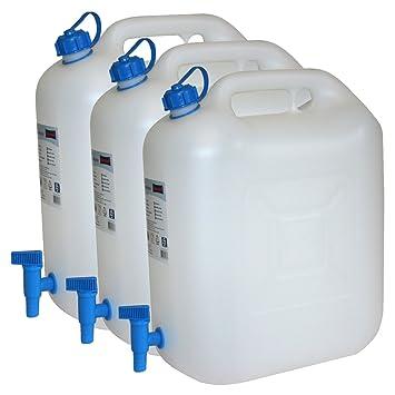 Top 3x Wasserkanister ECO 20 Liter mit Hahn 3er Set Camping-Kanister OH19
