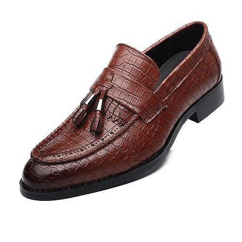 SRY-Shoes Moda PU de los Hombres Zapatos de tacón de Bloque de Cuero Textura de la Piel de Serpiente Mocasines Superiores Slip-on Oxford Forrada: Amazon.es: ...