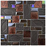 SomerTile GDXGVSWN Eden Versailles Walnut Glass and Stone Mosaic Wall Tile, 11.75'' x 11.75'', Grey/Copper/Iridescent