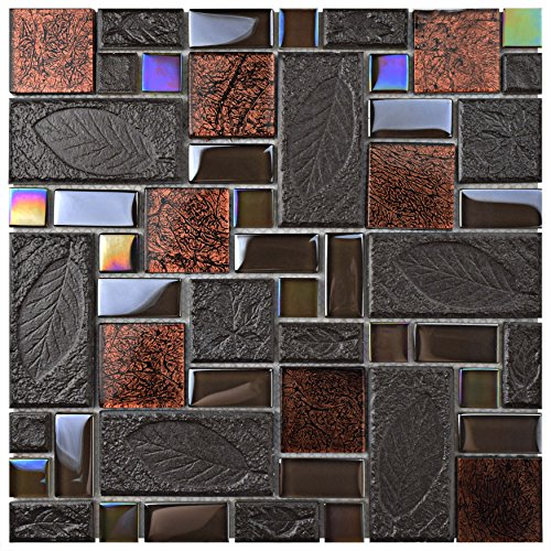 SomerTile GDXGVSWN Eden Versailles Walnut Glass and Stone Mosaic Wall Tile, 11.75'' x 11.75'', Grey/Copper/Iridescent by SOMERTILE