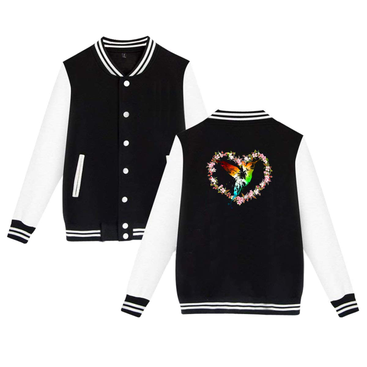 MF SFLK Heart Wreath with Hummingbird Baseball Jacket Uniform Unisex Sweater Coat