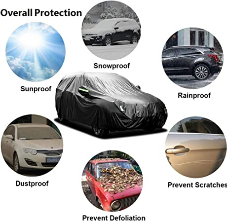 NOVSIGHT SUV Car Cover Waterproof Heavy Duty 420D Oxford Windproof Resistant Outdoor UV Protection Full Car Covers M 455x185x170CM