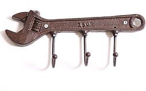 Unique Cast Iron Wrench Spanner Shape Key Rack Holder Hooks-Decorative Wall Mounted Retro Vintage Style Hanger (Wrench Shape Hook)