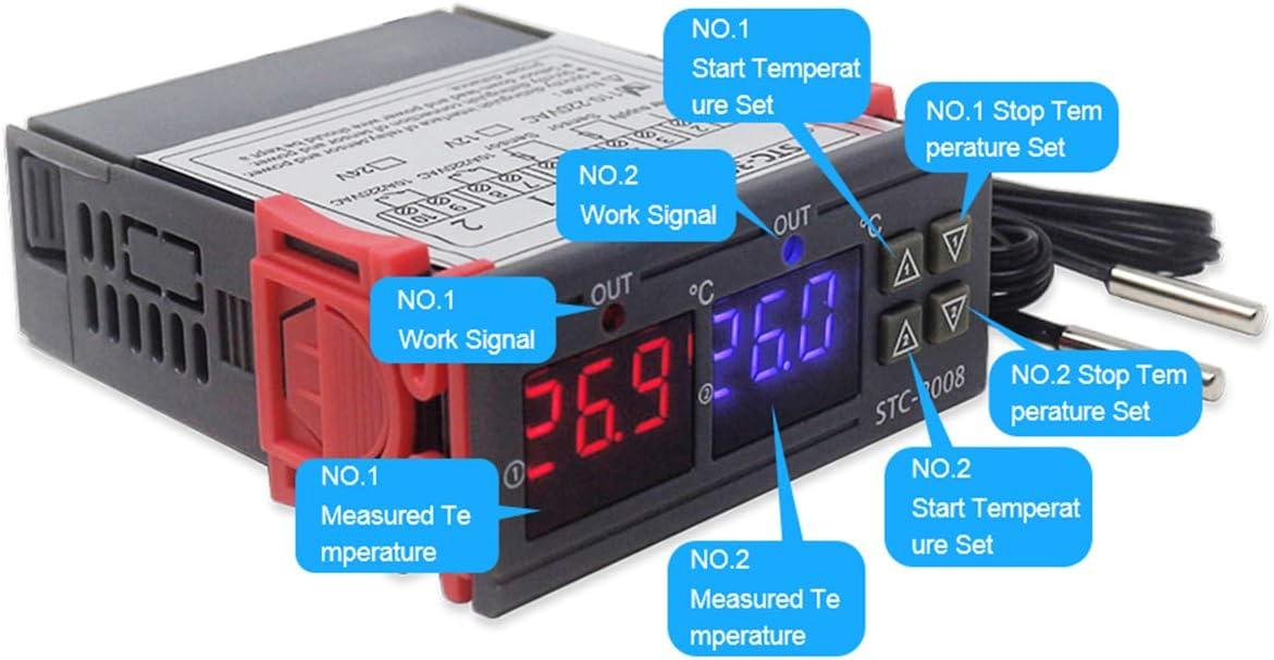 Gojiny Controlador de Temperatura Digital Inteligente de Doble Sonda para Pantalla de Termostato de Computadora Dc 12V