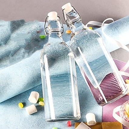 Estilo clásico cristal transparente con tapón de botella de vidrio, una botella de vino tinto