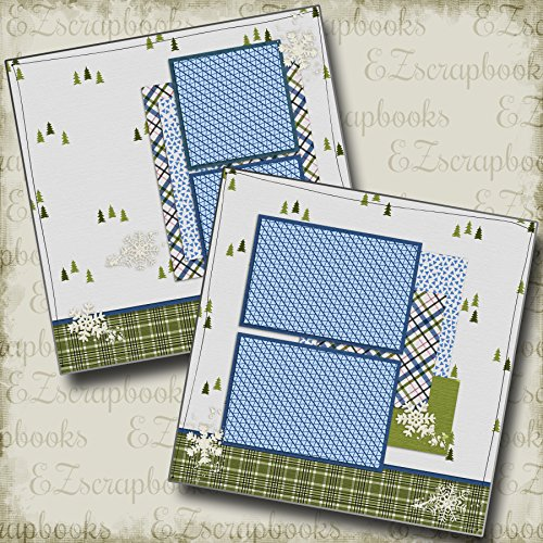ON THE SLOPES - Premade Scrapbook Pages - EZ Layout 54 (Page Scrapbook Snow)