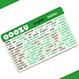 OOOZU Italian Language Card | Convenient Italian Phrasebook Alternative | Essential Italian For Travel To Italy/Rome/Venice/Milan/Florence