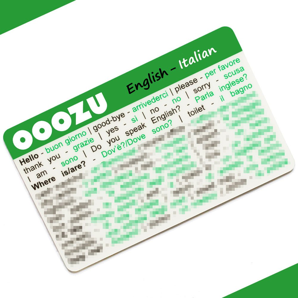 Rome Milan Florence Venice OOOZU Italian Language Card Essential Words And Phrases For Holidays And Travel To Italy Lightweight Credit Card-Sized Italian Phrasebook Alternative