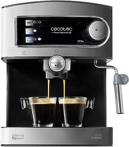 Cecotec Power Espresso 20 - Cafetera Express Manual, 850W, Presión 20 Bares, Depósito de 1,5L, Brazo Doble Salida, Vaporizador, Superficie Calientatazas, Acabados en Acero Inoxidable, Negro/Plata: Cecotec: Amazon.es: Hogar