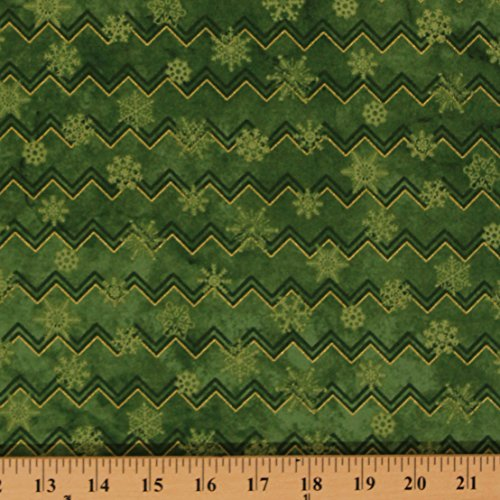Cotton Green Chevrons Snowflakes Christmas Holiday Festive Metallic Gold Shimmer Reindeer Prance Cotton Fabric Print by Yard (20568M) -