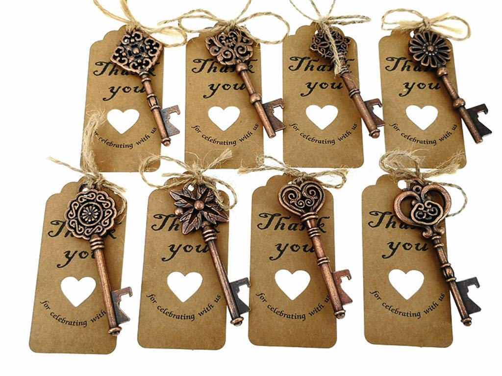 80pcs Skeleton Key Bottle Opener Wedding Party Favor Souvenir Gift with Escort Tag and Jute Rope(Red Copper Tone,8 styles) by ALIMITOPIA