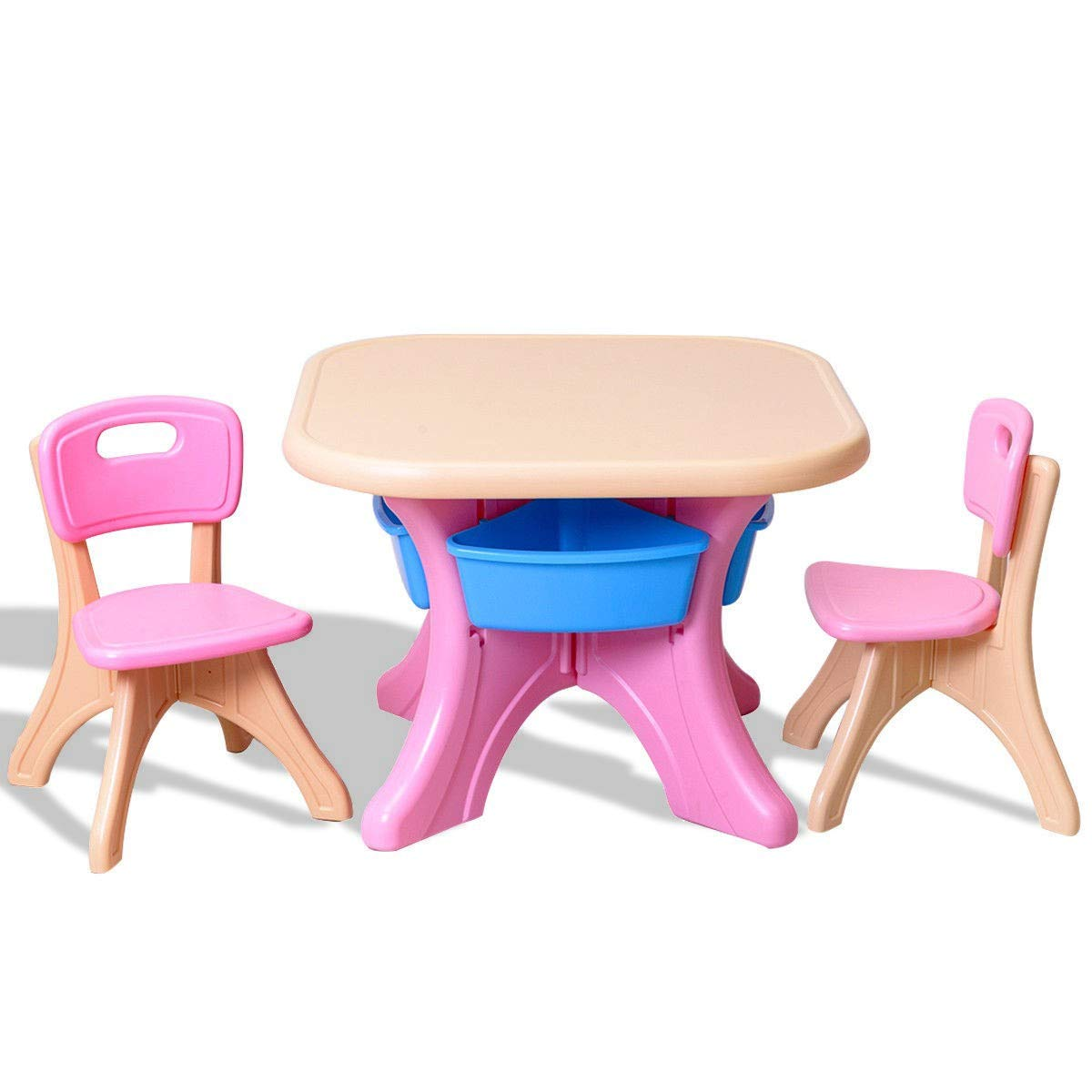 King77777 Practical and Comfort in/Outdoor 3-Piece Plastic Children Play Table & Chair Set Durable Construction Simple Design by King77777