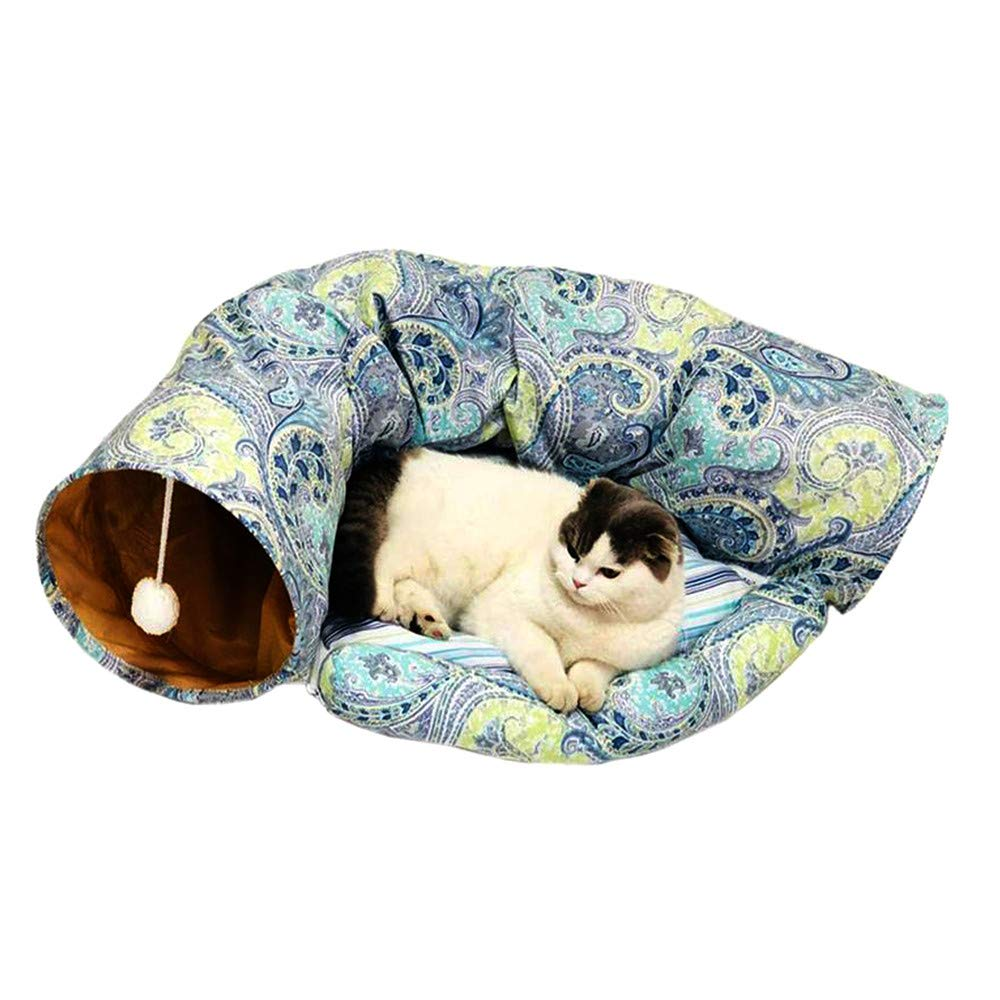 ZNN Pet Tunnel Bed - 2 in 1 Portable Foldable Cat Tube Toy with Small Ball, Four Seasons Universal, Comfortable, Soft, Easy to Clean, Suitable for Kittens and Rabbits