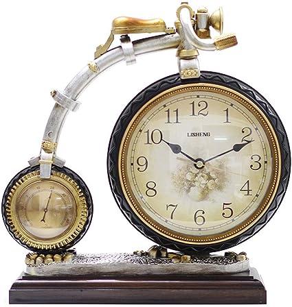 Viviendo En Casa De Habitación del Reloj Europea, Personalidad De La Moda Creativa Bicicleta Vieja Reloj De Mesa En Silencio, Termómetro De La Decoración del Hogar del Reloj De Pie: Amazon.es: Hogar