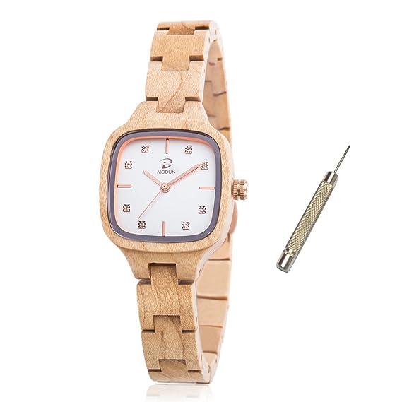 Reloj de madera de arce natural para las mujeres, diamantes Rectángulo de oro cara de