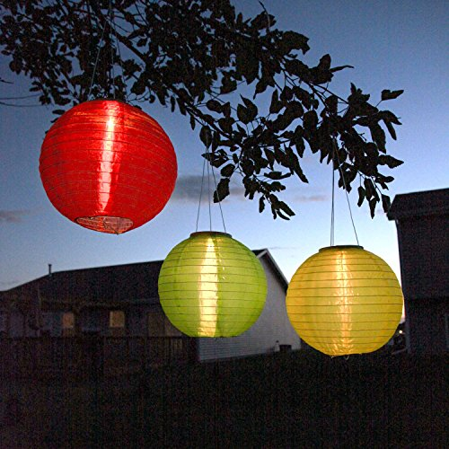 3 Solar Hanging Nylon Lanterns, Red, Yellow, and Green, 12', Triple LEDs, Auto Timer, Water Resistant, Rechargeable Batteries Included