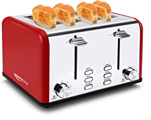 Toaster 4 Slice, Keenstone Stainless Steel Bagel Toaster with Wide Slot, Crumb Tray, Red