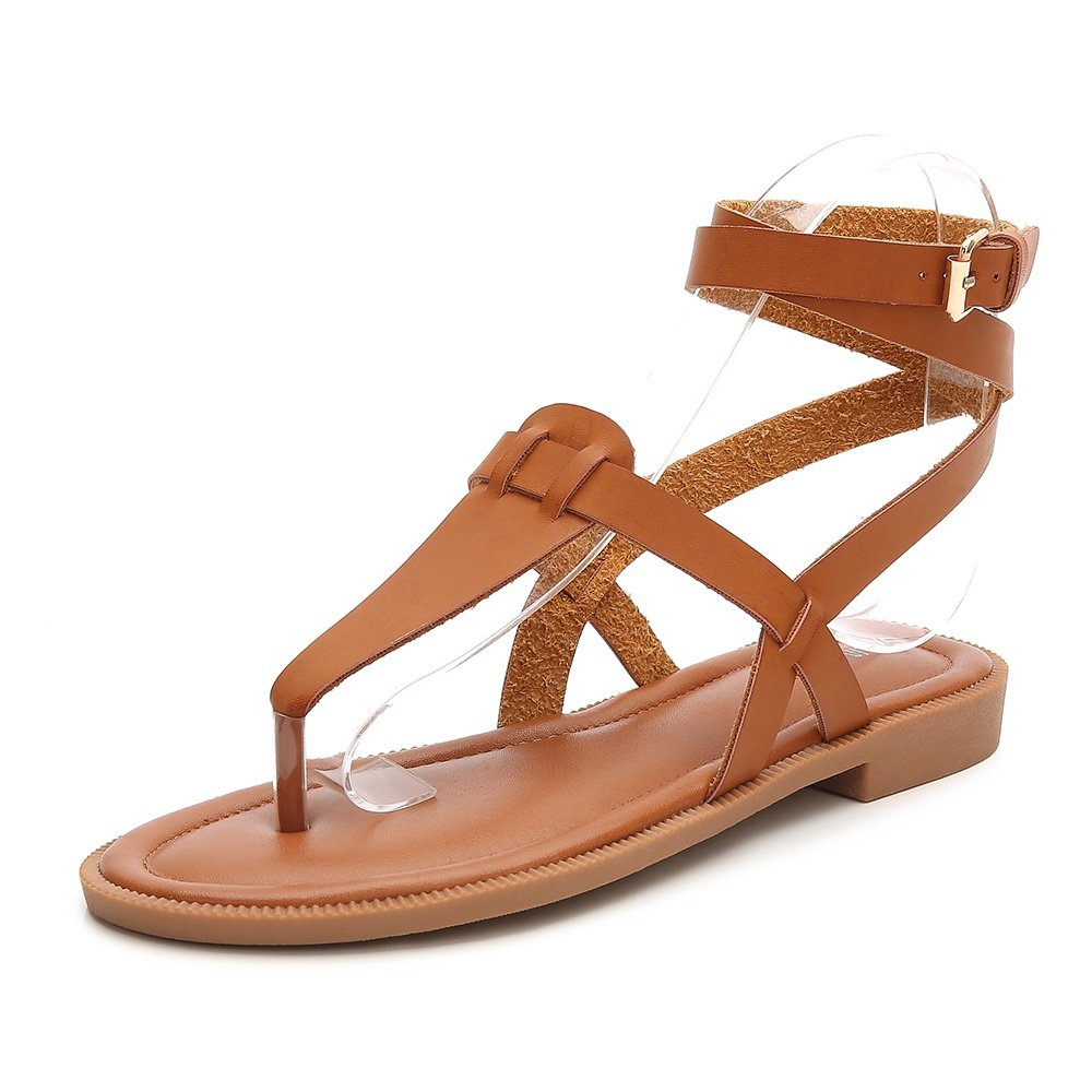 Wollanlily Women Summer Ankle Strap Gladiator Strappy Flat Sandals Roman Thong Beach Sandals Brown US 7
