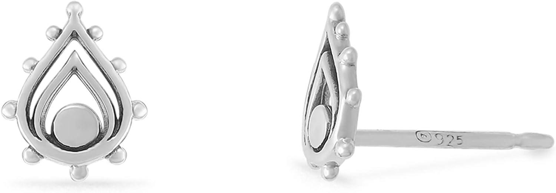 Boma Jewelry Sterling Silver Balinese Tribal Boho Teardrop Stud Earrings