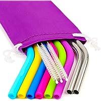 REGULAR SIZE Silicone Straws for 20 and 30 oz Yeti/Rtic/Ozark Tumbler & Stainless Steel Straws Bundle - 6 Silicone Straws + 3 Brushes + 2 Metal Straws + 1 Storage Pouch - Reusable Straws Extra Long