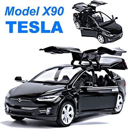 Metal 1//32 Tesla Model X 90D Sound Light Diecast Model Car Pull Back Vehicle Toy