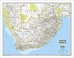 South Africa Classic Laminated Wall Maps Countries Regions - South africa map countries
