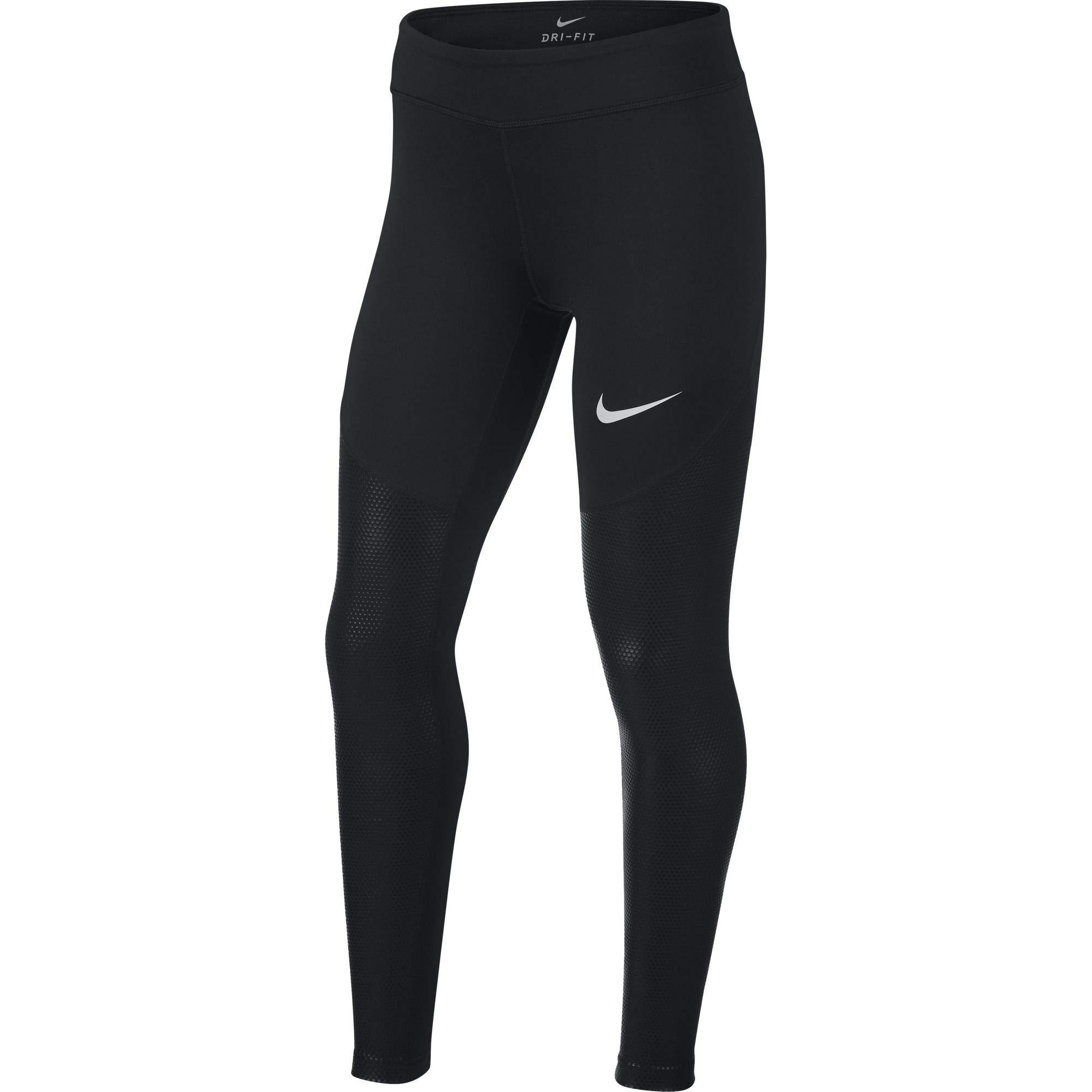 Nike Dri-FIT Big Kids' (Girls') Training Tights (Black, L)