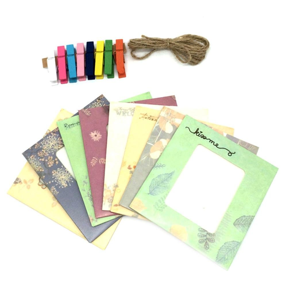 Gbell Adults Kids Children Wall Deco DIY Creative Mini Paper Photo Frame with Clothespins and Twine -Fit Instax Mini Film (D)