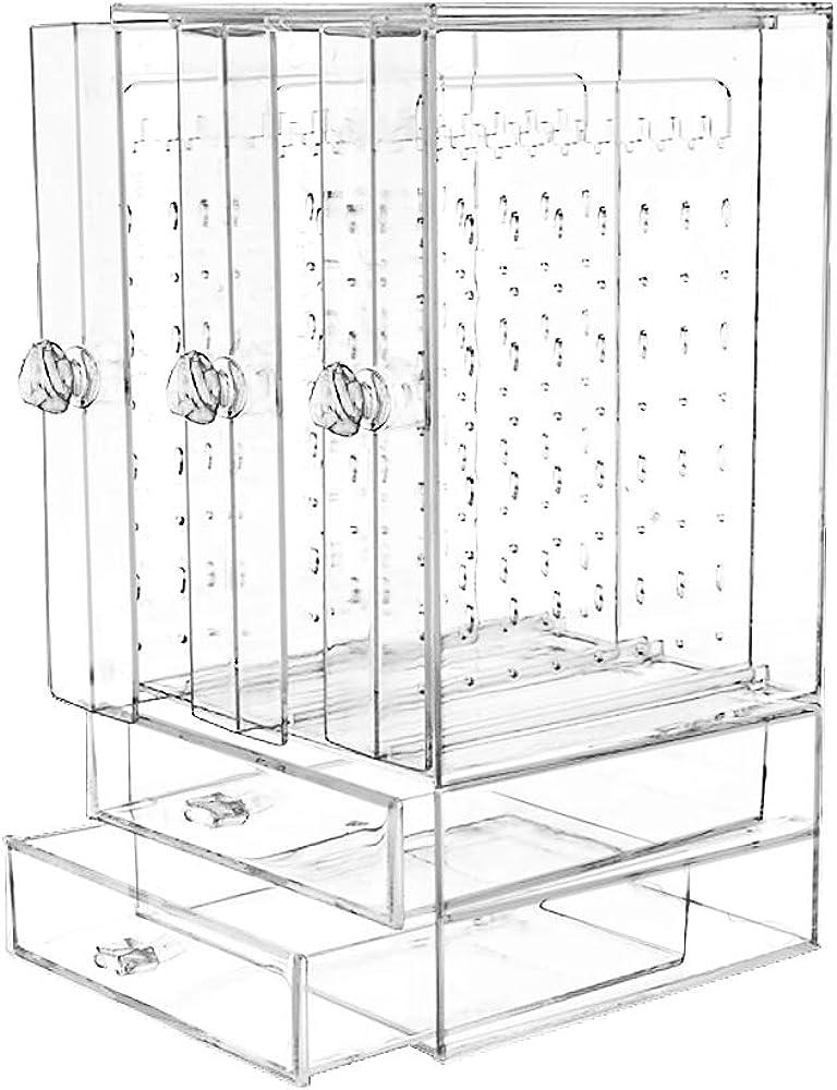 VINFUTUR 296 Agujeros de Caja Pendientes Organizadora Joyero Transparente Colgante Organizador Acrilico Pendientes Mujer Joyas Caja Titular Almacenamiento Joyería