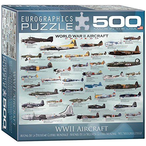 WWII Aircraft 500 Piece Puzzle Jigsaw Puzzle 27 x 19in