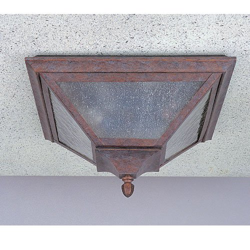 Murray Feiss OL1013WP Homestead 2 Light Outdoor Flush Mount in Weathered Patina with Seeded Glass (Mount Ceiling Fixture Weathered Patina)