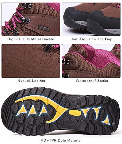 Mujer Adventurer para Senderismo Botas High CROWN Mujer Marrón púrpura de Zapatos de para Senderismo CAMEL Rise Botas 6TUfqwx