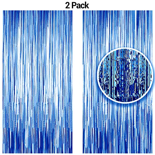 Blue Foil Fringe Curtains Photo Booth Backdrop,Shiny Metallic Tinsel Party Door Curtain Photo Booth Props Bachelorette Birthday Wedding Bridal Baby Shower Party Supplies Decorations, Boys Bday 2-Pack