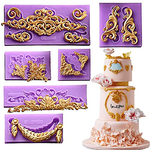 ( 6 in Set)Baroque Style Curlicues Scroll Lace Fondant Silicone Mold for Sugarcraft, Cake Border Decoration, Cupcake Topper, Jewelry, Polymer Clay, Crafting Projects By Palker sky (Cake Fondant Molds)