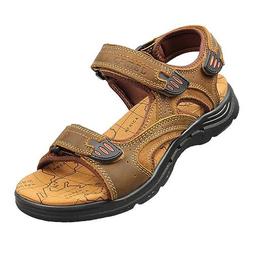 d9da3718870 Sandalias de Cuero para Hombres - Trekking Zapatos de Verano al Aire Libre  - Junkai  ka18051602  Amazon.es  Zapatos y complementos