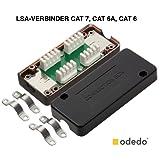 odedo® 3 Stück LSA Verbindungsmodul für Cat 7 und Cat 6A (auch Cat 6, 5e) mit dt. Anleitung, LSA Verbinder zum Reparieren, Verlängern von Netzwerkkabeln und Verlegekabeln, Connection Box, metallisiert
