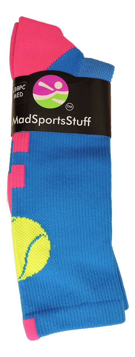 Tennis Logo Athletic Crew Socks (Electric Blue/Neon Pink, Medium) by MadSportsStuff (Image #2)