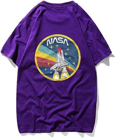 TNM Hombres La NASA del Transbordador Espacial Camisa - NASA Worm Logo Confeti Camiseta de Las Estrellas,Púrpura,XXL: Amazon.es: Hogar