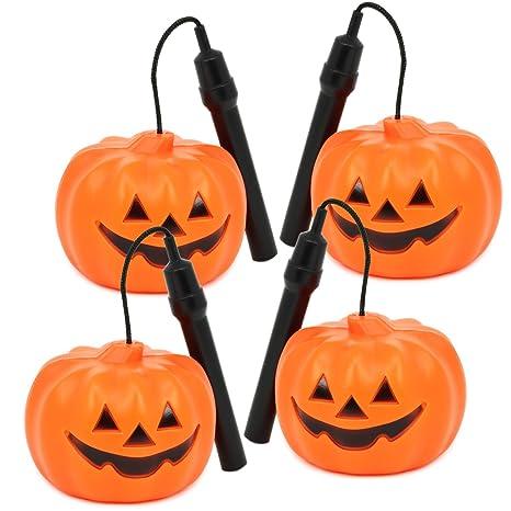 COM-FOUR® 4X Lanterna Zucca di Halloween con Luce a LED 951675439b19