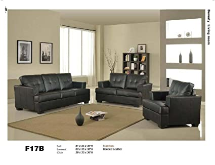 3 PCs Black Classic Leather Sofa, Loveseat, And Chair Set