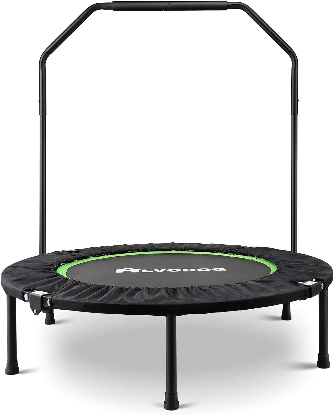 alvorog Fitness Exercise Trampoline with Handrail Portable Foldable Bungee Rebounder Cardio Workout Training Quiet and Safe for Adults Supports Up to 264 lbs