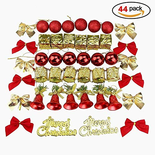 POAO 2018 44 Pack Assorted Shatterproof Christmas Ball Hanging Ornaments Set Decorative Baubles Pendants for Xmas Tree