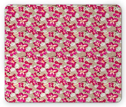(SHAQ Flower Mouse Pad, Tropical Blooms Hibiscus Petals Caribbean Vibes Aloha Seascape Summer Pattern, Standard Size Rectangle Non-Slip Rubber Mousepad, Tan Magenta)