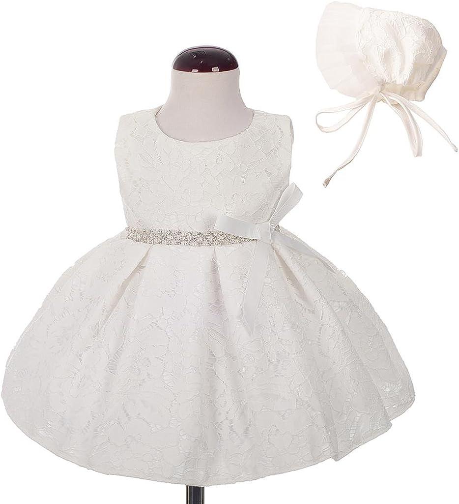 Lito Angels Baby M/ädchen Taufkleid Taufanzug Taufe Festlich Kleid mit Hut Perle Stickerei