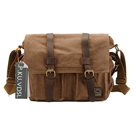 f1a224f99436 P.KU.VDSL® UOMINI CANVAS Tracolla Messenger CROSS BODY BAG DSLR SLR Camera